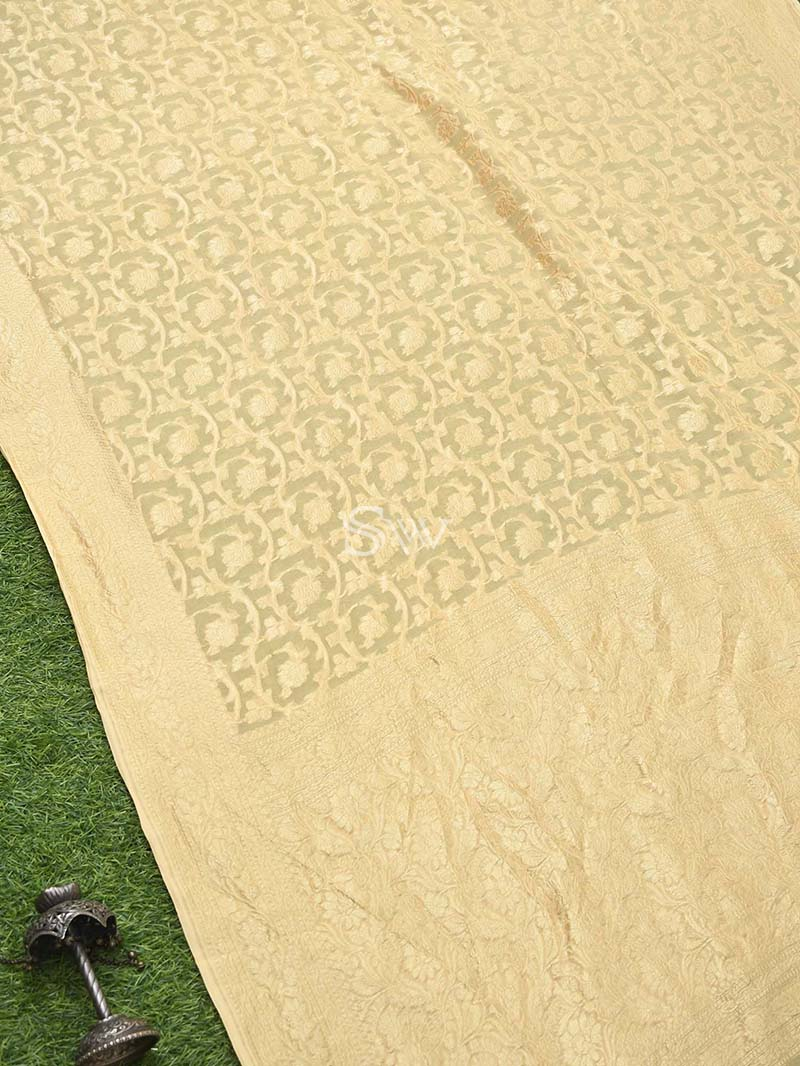 Gold Yellow Khaddi Georgette Handloom Banarasi Saree - Sacred Weaves