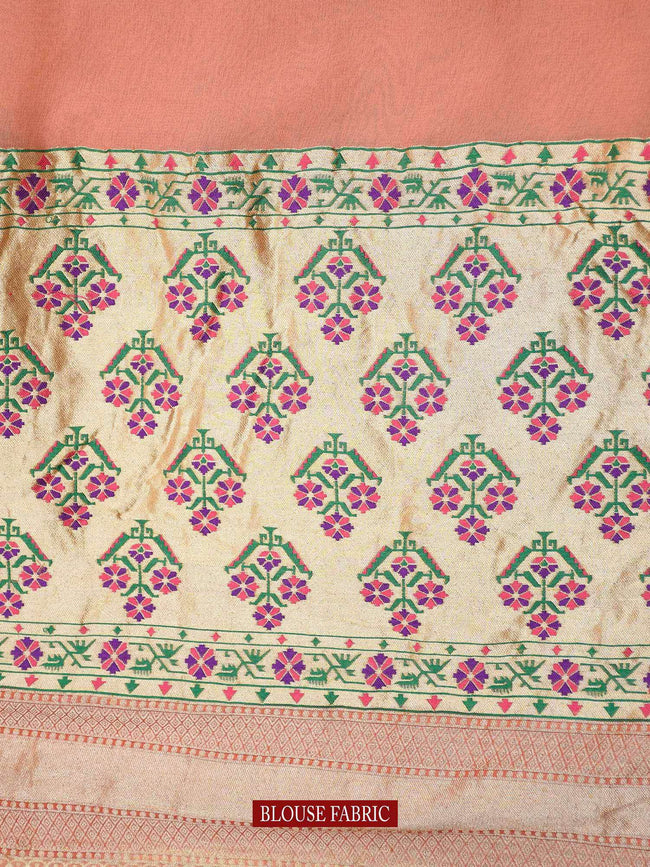 Beautiful Peach Floral Paithani Pallu Pure Georgette Khaddi Banarasi Saree - Sacred Weaves