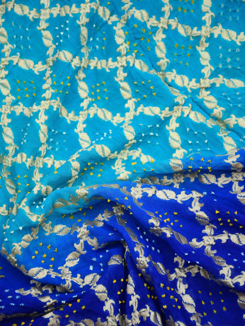 Shades Of Blue Gold Zari Bandhani Jaal Pure Khaddi Georgette Banarasi Saree - Sacred Weaves