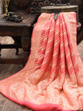 Peach Khaddi Georgette Banarasi Handloom Saree - Sacred Weaves