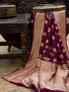 Wine Khaddi Georgette Banarasi Handloom Saree - Sacred Weaves