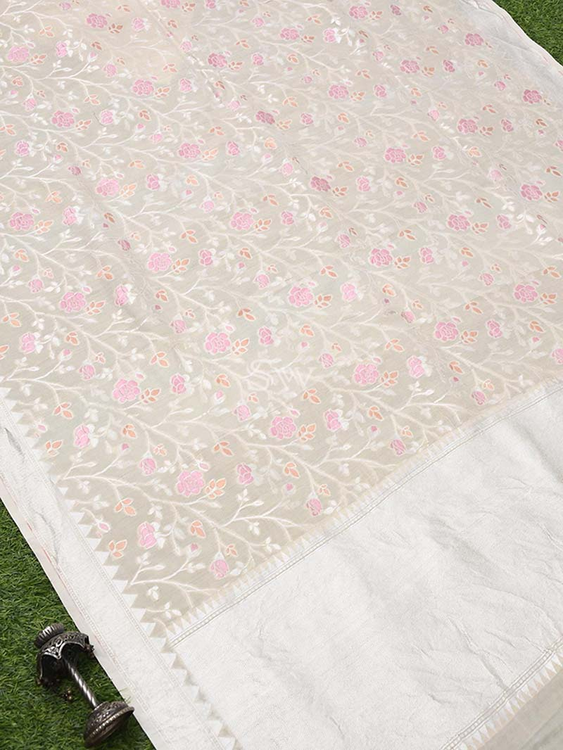Off White Tussar Georgette Handloom Banarasi Saree - Sacred Weaves