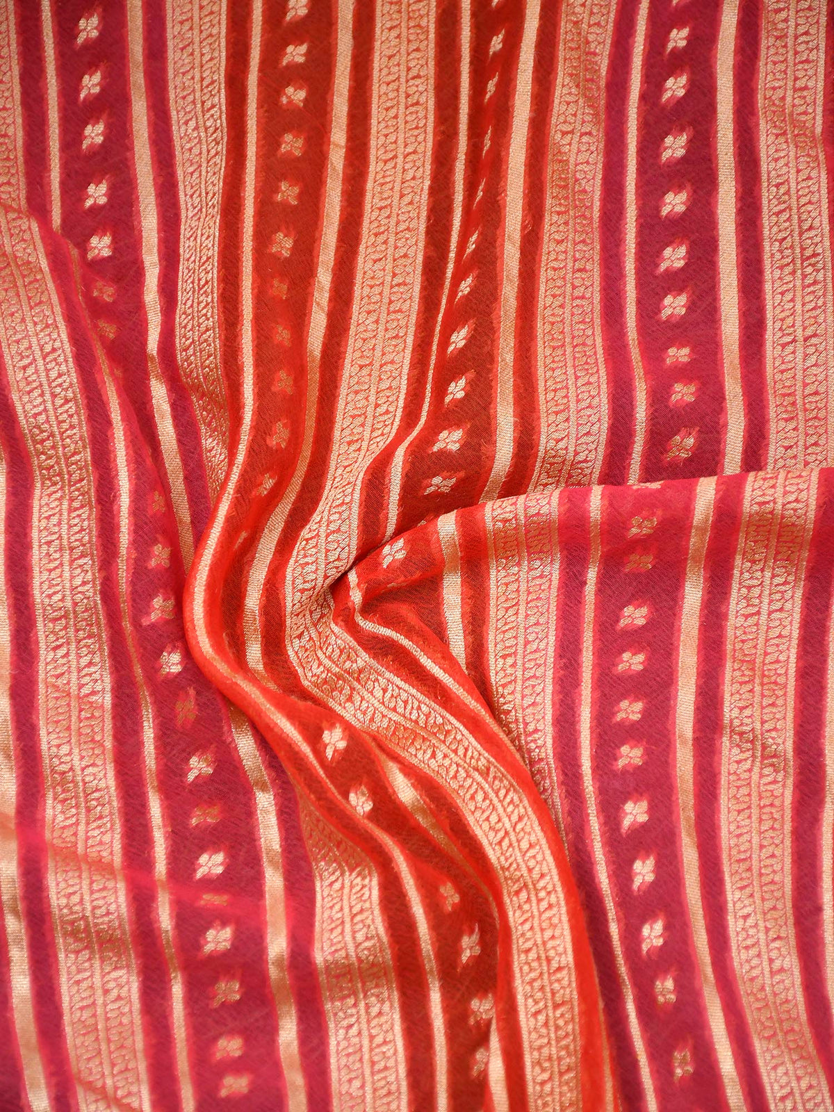 Orange Pink Rangkat Gold Zari Stripe Pure Khaddi Georgette Banarasi Saree - Sacred Weaves
