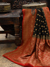 Black Khaddi Georgette Banarasi Handloom Saree - Sacred Weaves