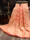 Peach Khaddi Georgette Banarasi Handloom Saree- Sacred Weaves