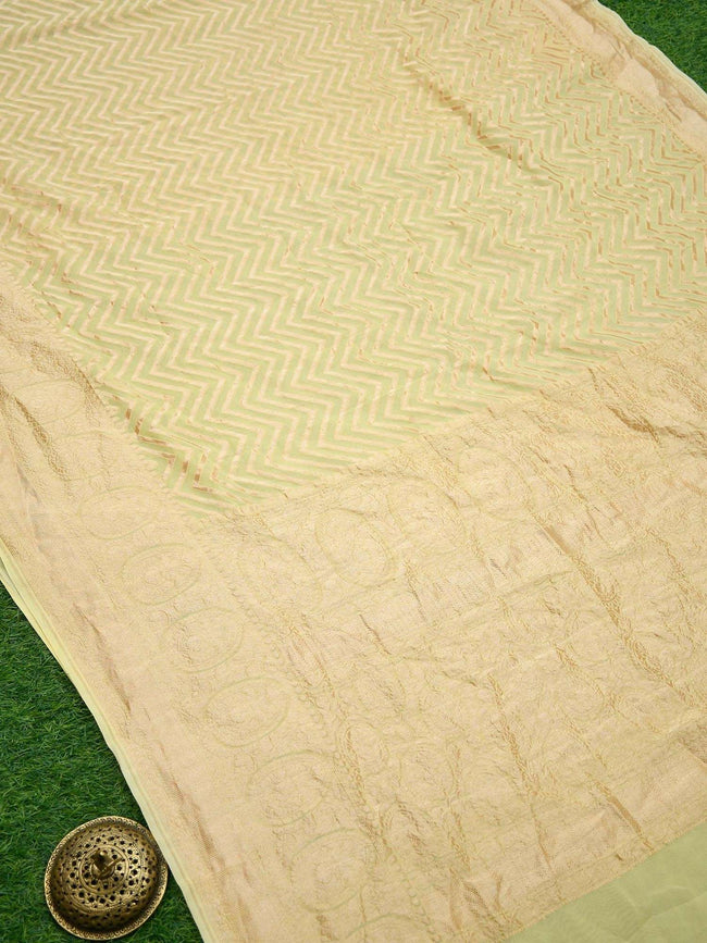 Pastel Yellow Gold Zari Zig Zag Stripe Pure Khaddi Georgette Banarasi Saree - Sacred Weaves