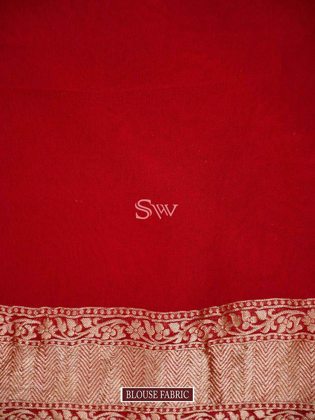 Red Color Gold Zari Border Pure Khaddi Georgette Banarasi Saree- Sacred Weaves