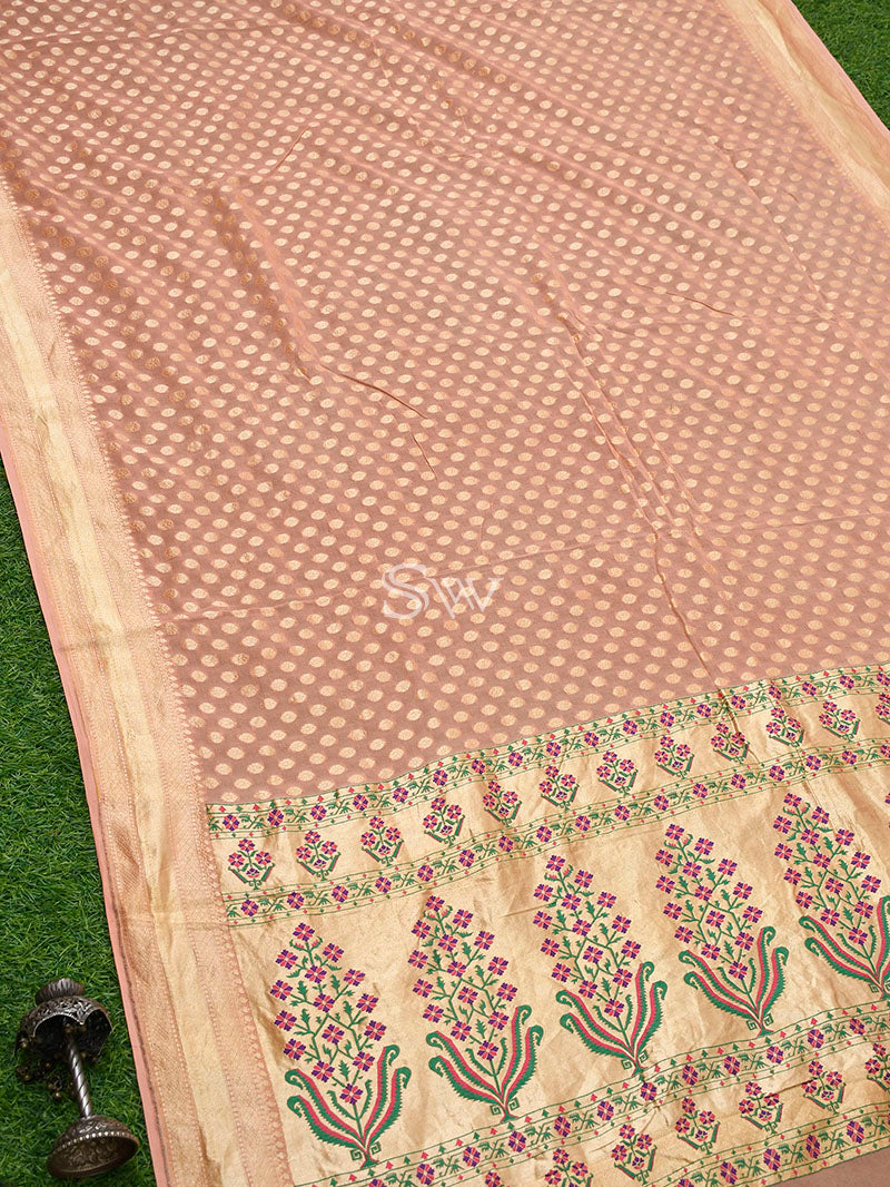 Peach Khaddi Georgette Handloom Banarasi Saree - Sacred Weaves