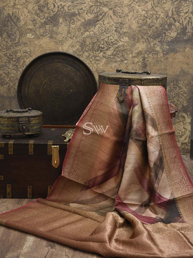 Dusty Pink Tussar Silk Printed Banarasi Saree - Sacred Weaves