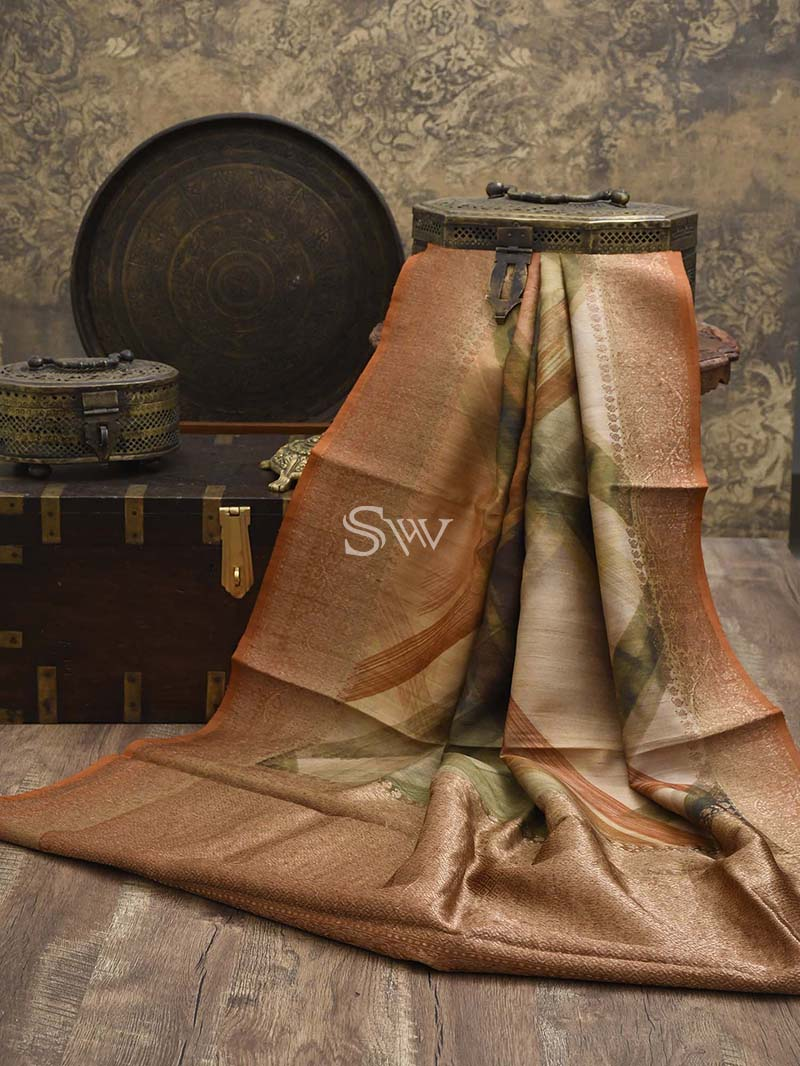 Rust Tussar Silk Printed Banarasi Saree - Sacred Weaves