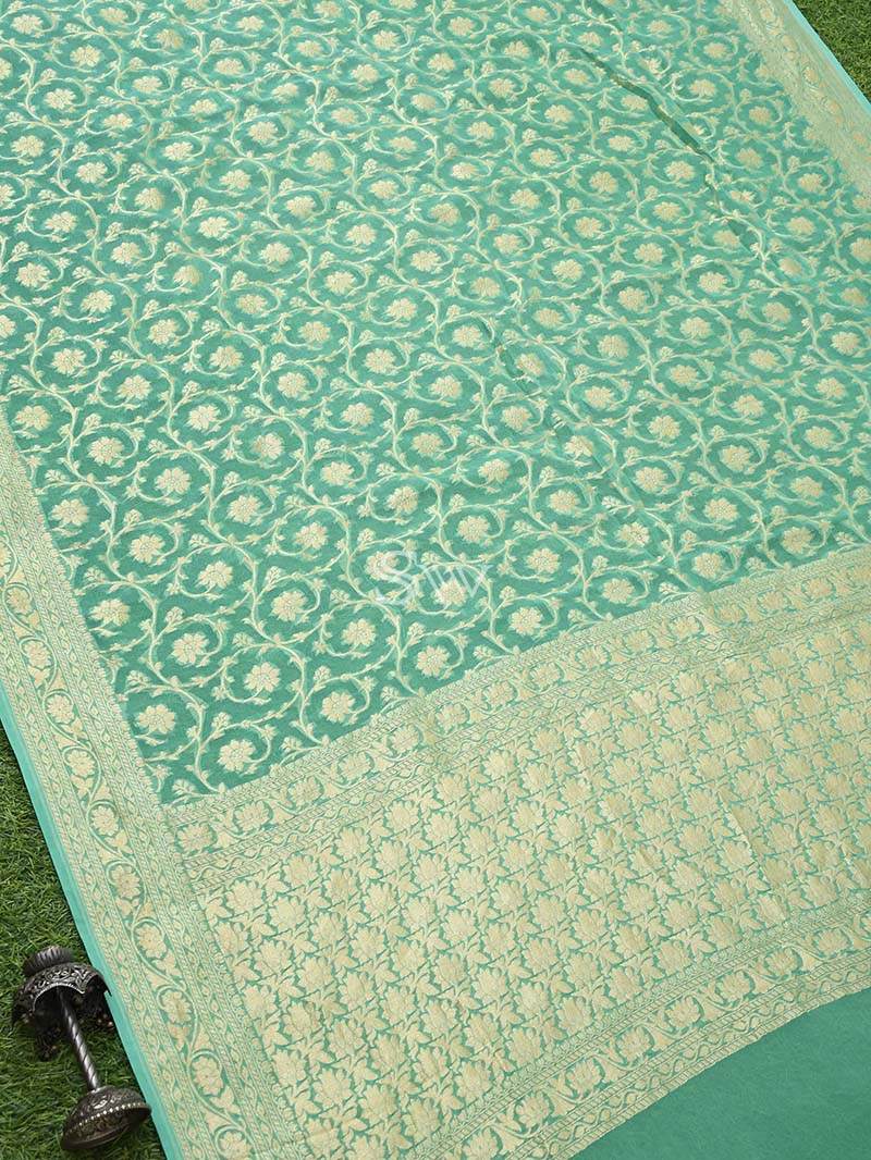 Sea Green Khaddi Georgette Handloom Banarasi Saree - Sacred Weaves