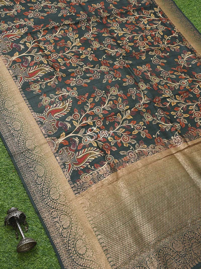Dark Green Tussar Silk Handloom Banarasi Saree - Sacred Weaves
