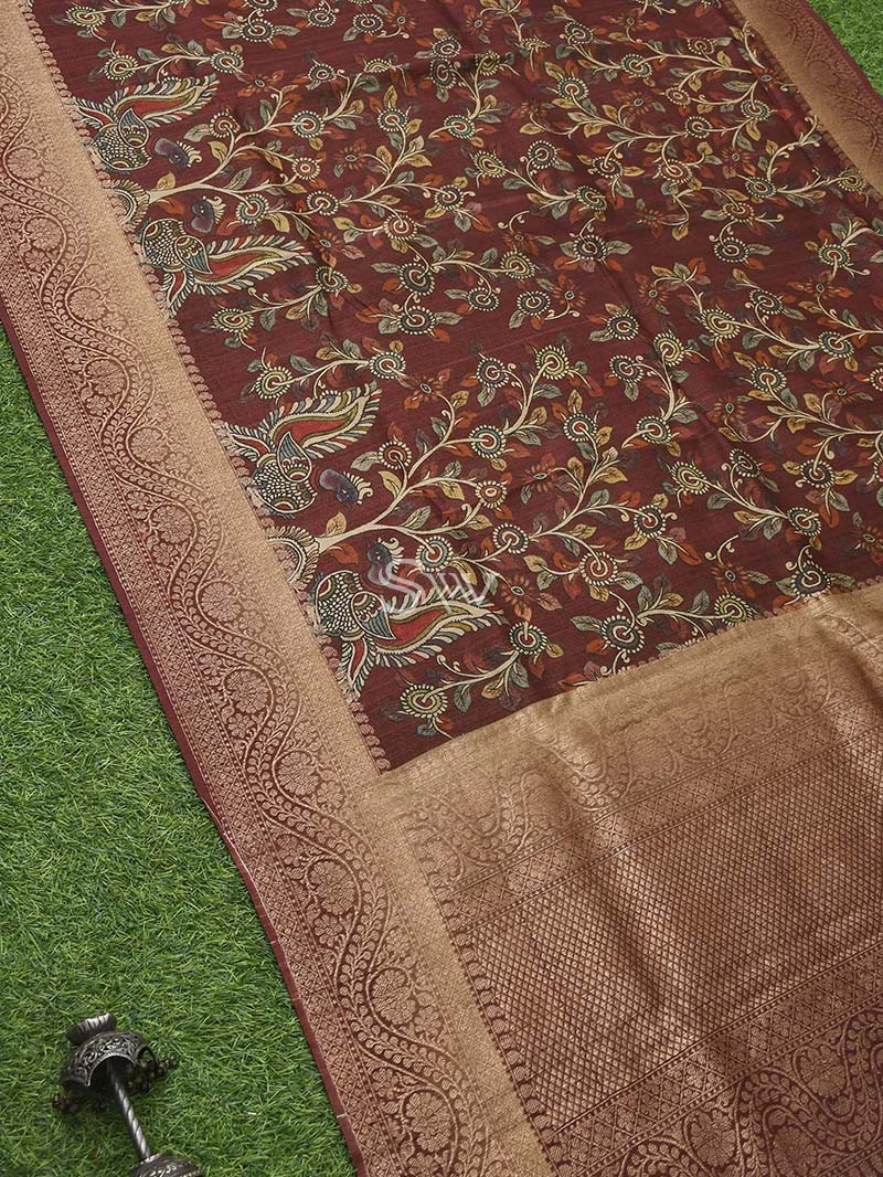 Dark Brown Tussar Silk Handloom Banarasi Saree - Scared Weaves