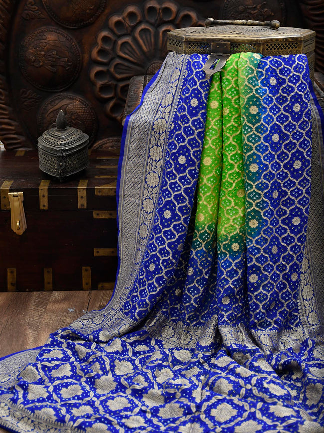 Blue-Green Gold Zari Bandhani Jaal Pure Khaddi Georgette Banarasi Saree - Sacred Weaves