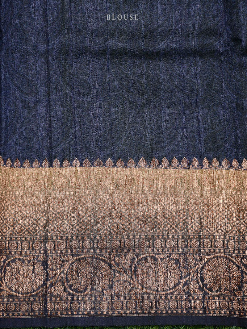 Navy Blue Tussar Silk Printed Banarasi Saree - Sacred Weaves