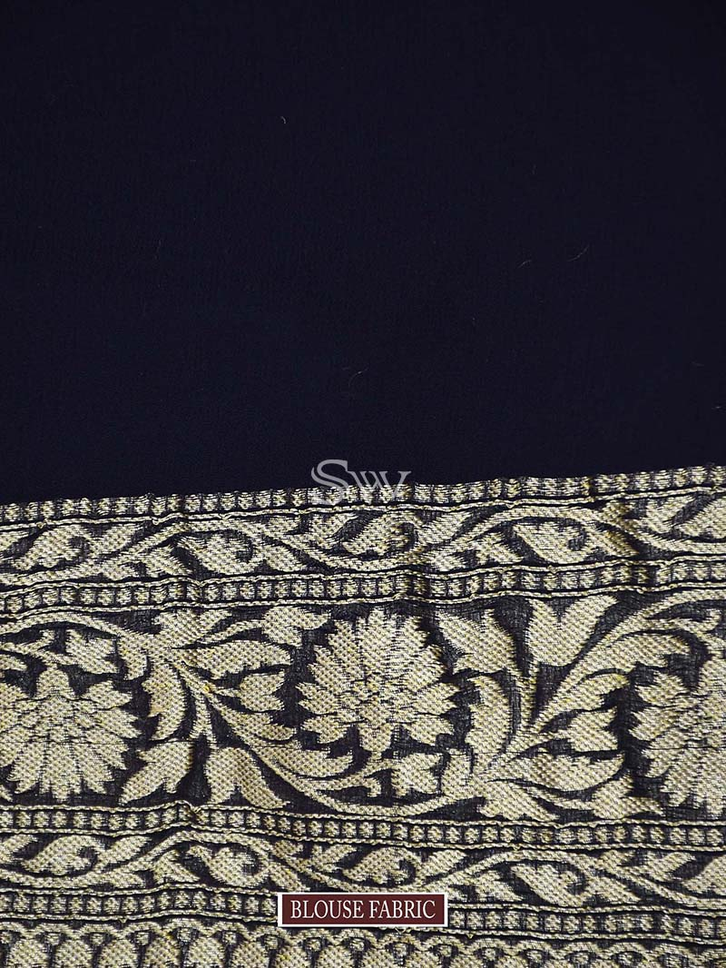 Navy Blue Khaddi Georgette Handloom Banarasi Saree - Sacred Weaves