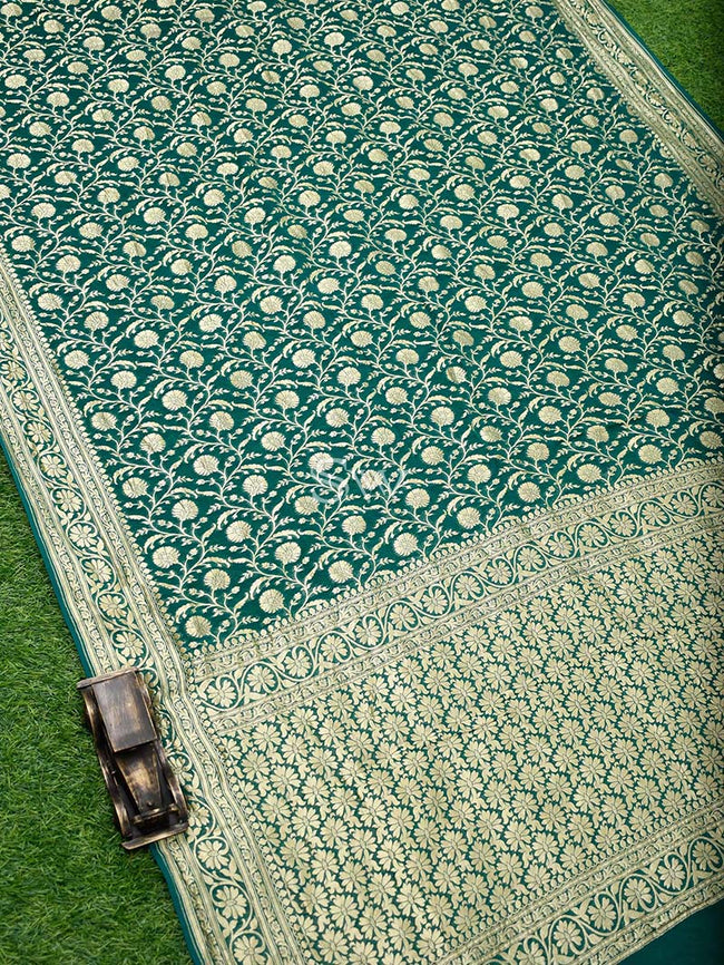 Bottle Green Color Floral Jaal Pure Khaddi Georgette Banarasi Saree - Sacred Weaves