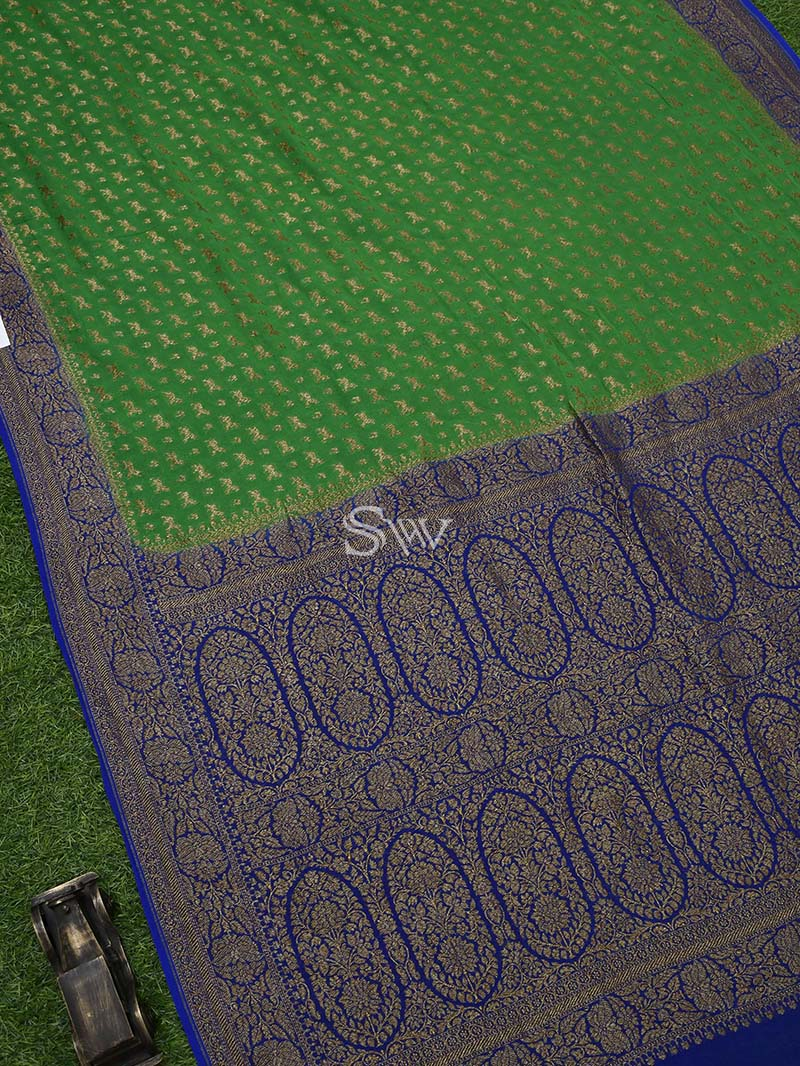 Green Khaddi Georgette Handloom Banarasi Saree - Sacred Weaves
