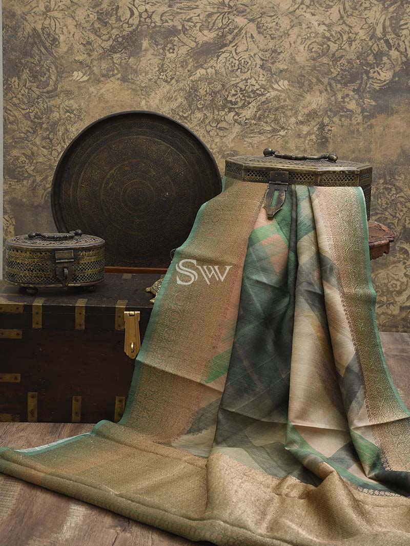 Green Tussar Silk Printed Banarasi Saree - Sacred Weaves