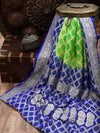 Royal Blue-Green Bandhani Jaal Pure Khaddi Georgette Banarasi Saree - Sacred Weaves
