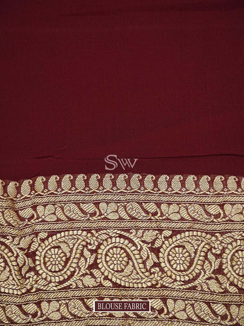 Brown Khaddi Georgette Handloom Banarasi Saree - Sacred Weaves