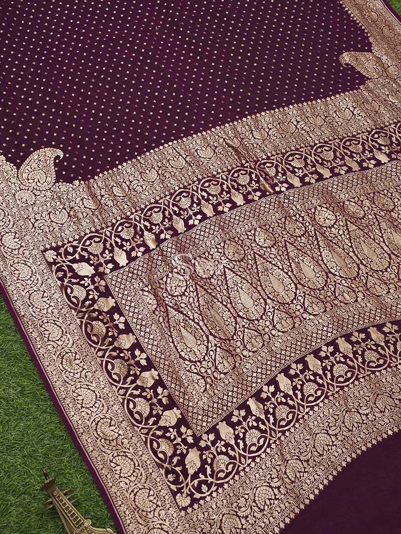 Dark Purple Khaddi Georgette Handloom Banarasi Saree