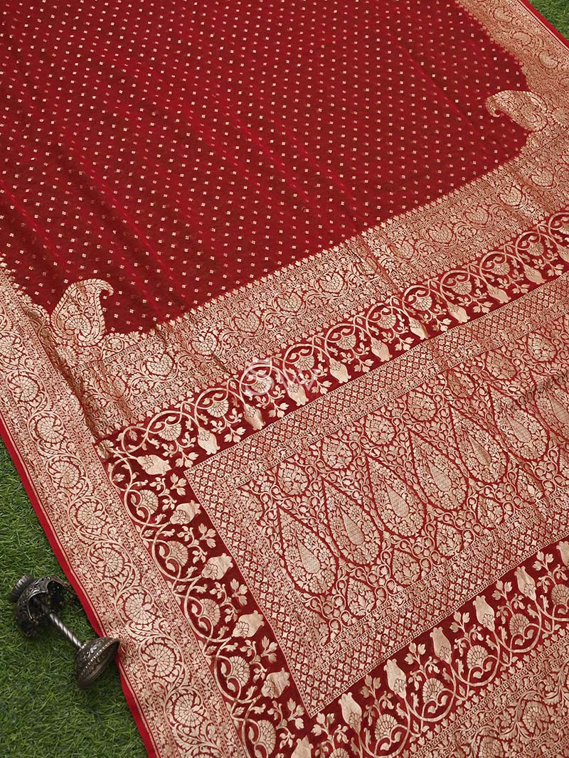 Red Khaddi Georgette Handloom Banarasi Saree - Sacred Weaves