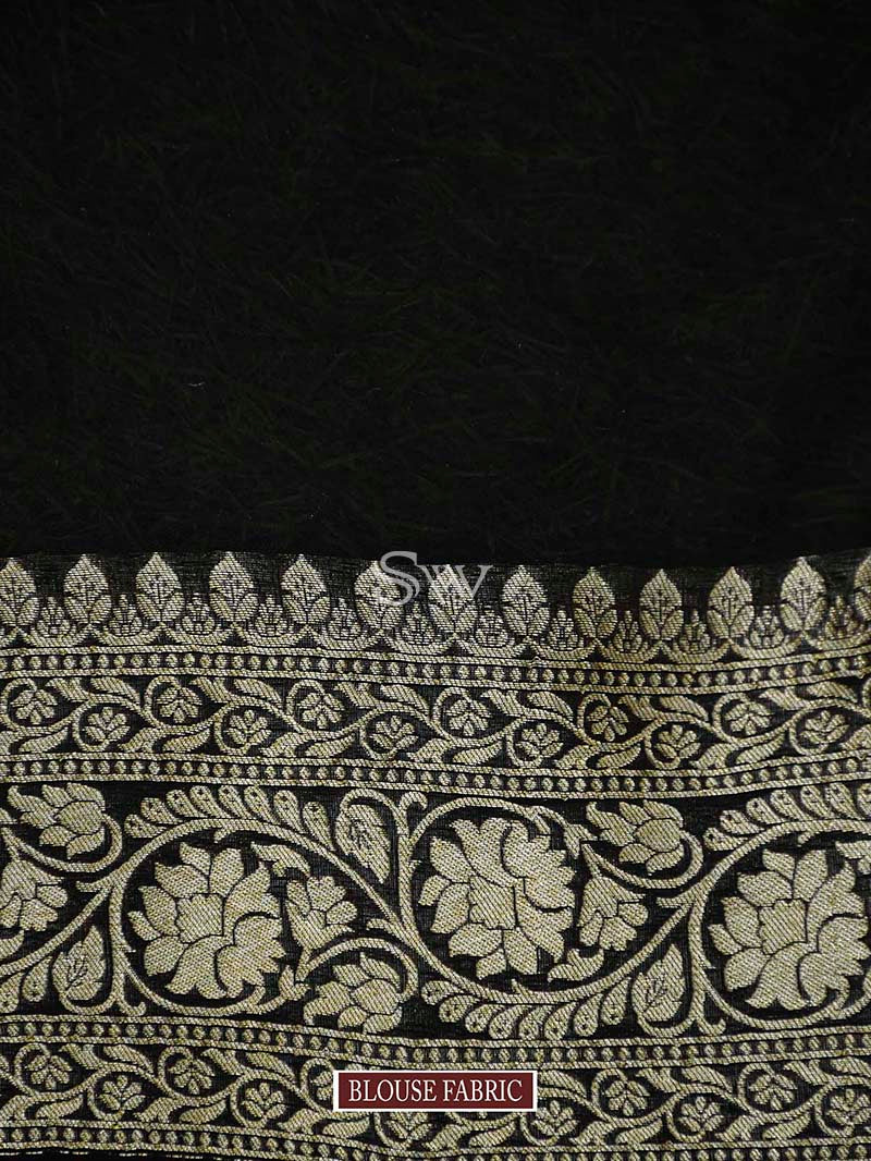 Black Khaddi Georgette Handloom Banarasi Saree - Sacred Weaves
