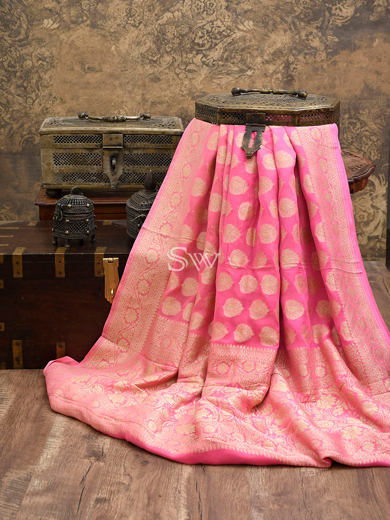 Light Pink Khaddi Georgette Handloom Banarasi Saree - Sacred Weaves