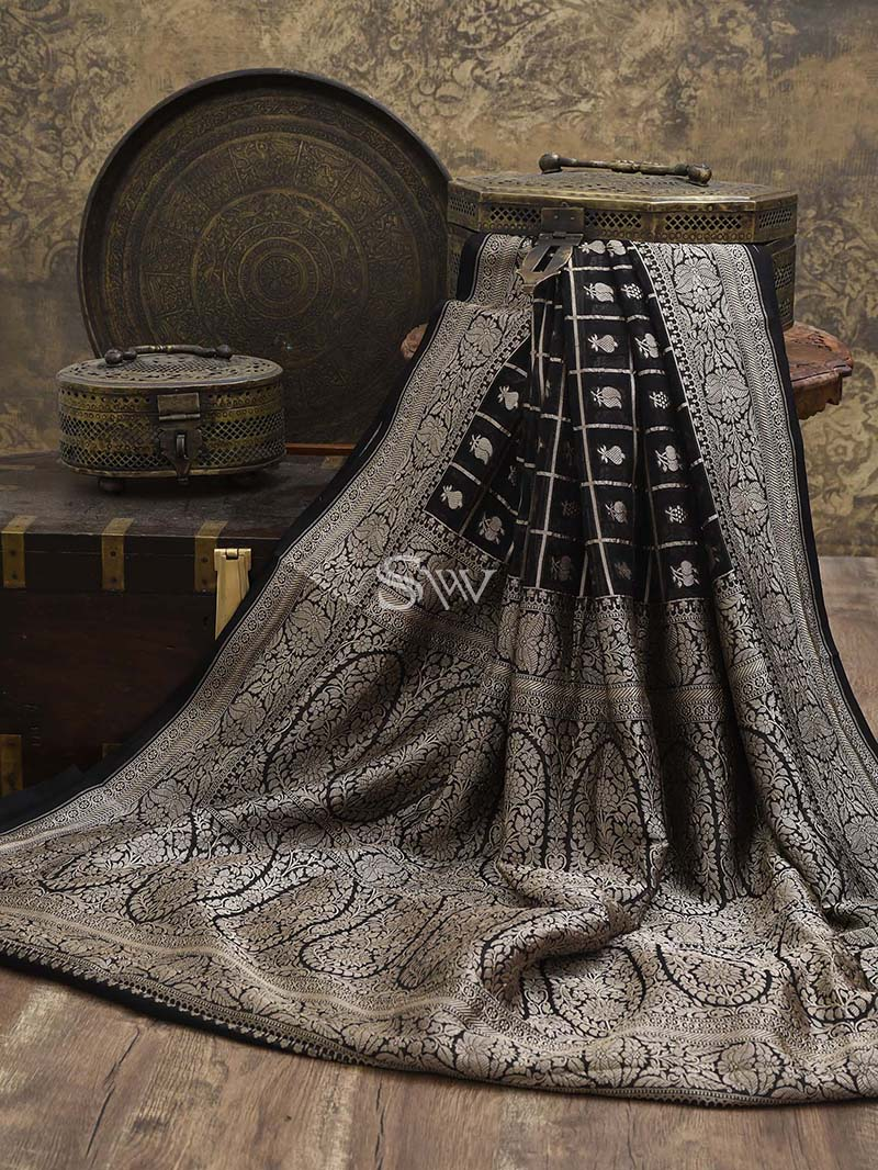 Black Khaddi Georgette Handloom Banarasi Saree- Sacred Weaves