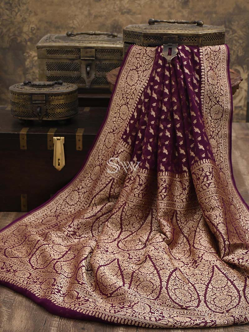 Purple Khaddi Georgette Handloom Banarasi Saree - Sacred Weaves