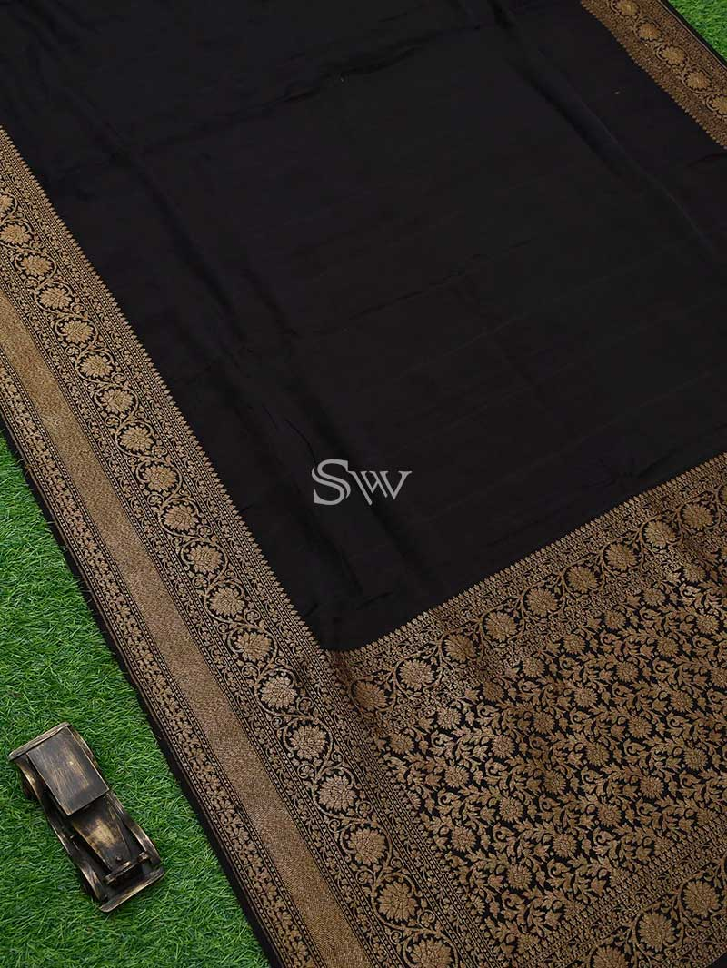 Black Crepe Banarasi Handloom Saree - Sacred Weaves