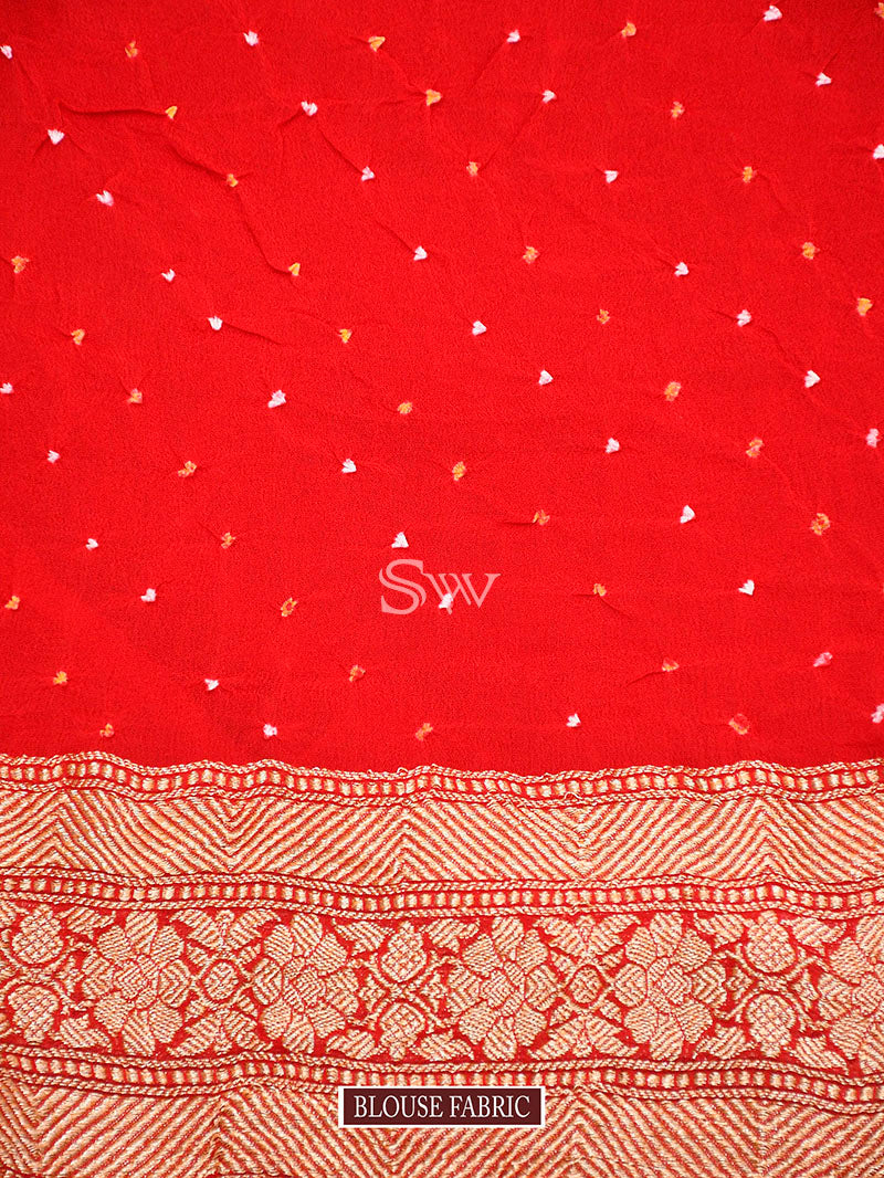 Red Bandhani Khaddi Georgette Handloom Banarasi Saree - Sacred Weaves