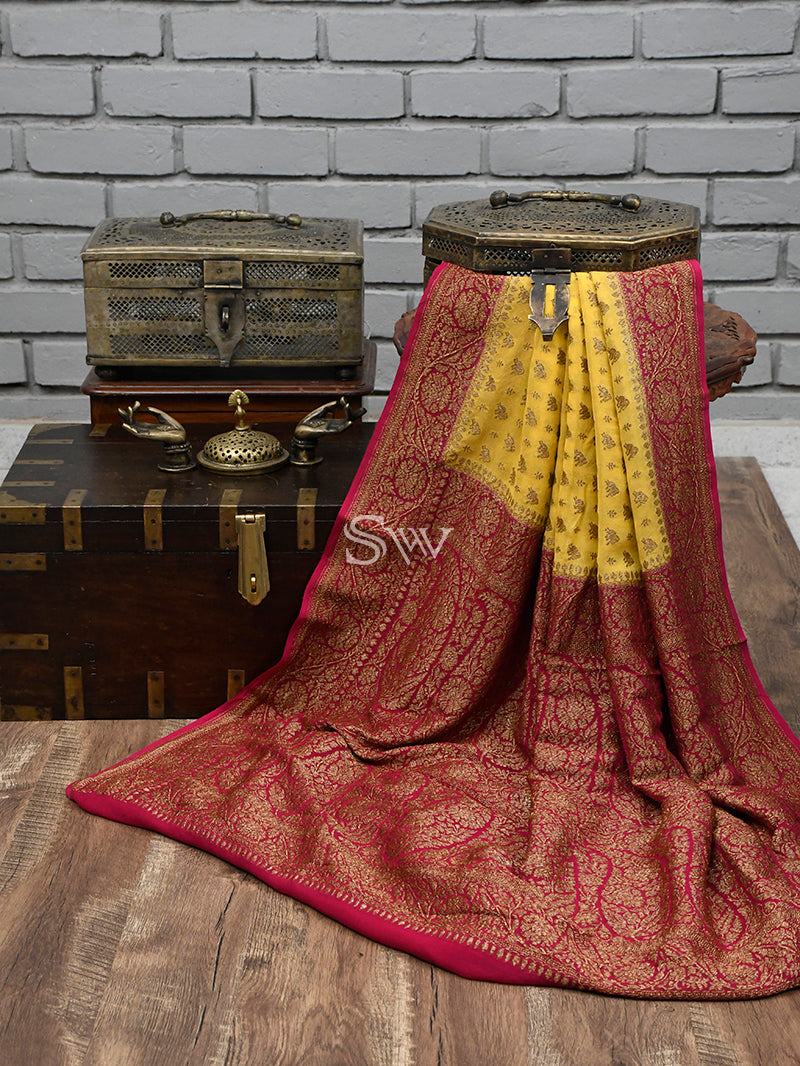 Yellow Shikargah Khaddi Georgette Handloom Banarasi Saree - Sacred Weaves