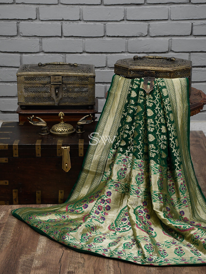 Dark Green Khaddi Georgette Handloom Banarasi Saree - Sacred Weaves