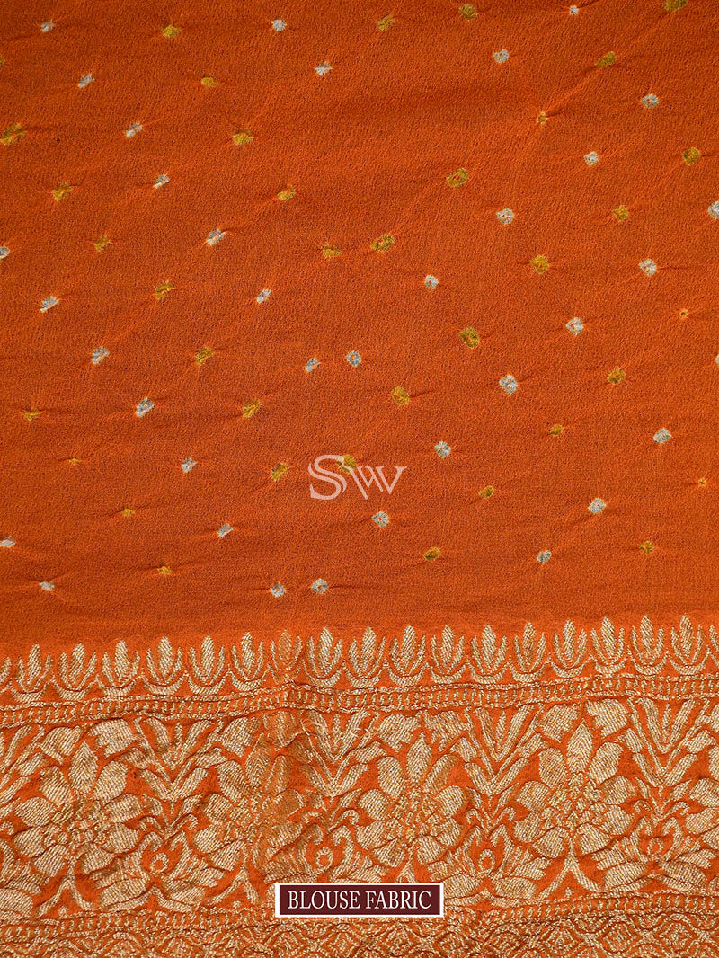 Maroon-Orange Bandhani Khaddi Georgette Handloom Banarasi Saree - Sacred Weaves