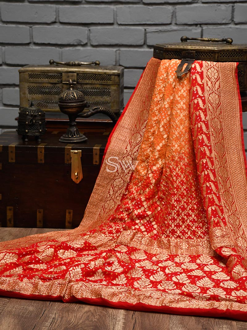 Red-Orange Bandhani Khaddi Georgette Handloom Banarasi Saree - Sacred Weaves