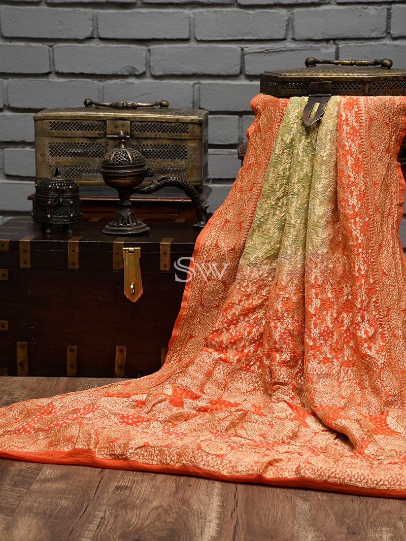 Orange-Green Bandhani Khaddi Georgette Handloom Banarasi Saree - Sacred Weaves