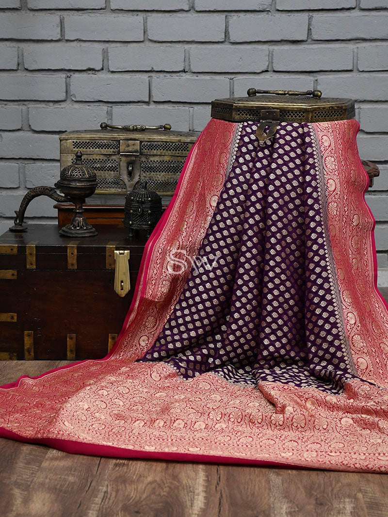 Dark Purple Khaddi Georgette Handloom Banarasi Saree - Sacred Weaves