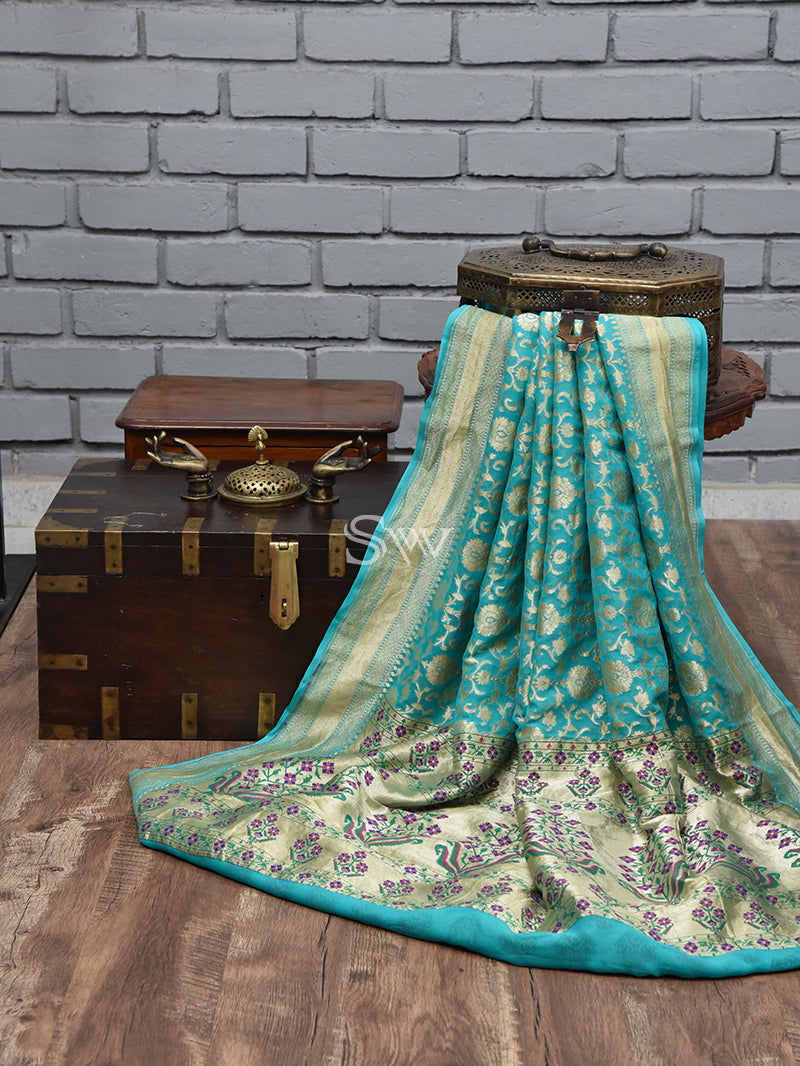 Sea Green Paithani Khaddi Georgette Handloom Banarasi Saree - Sacred Waeves