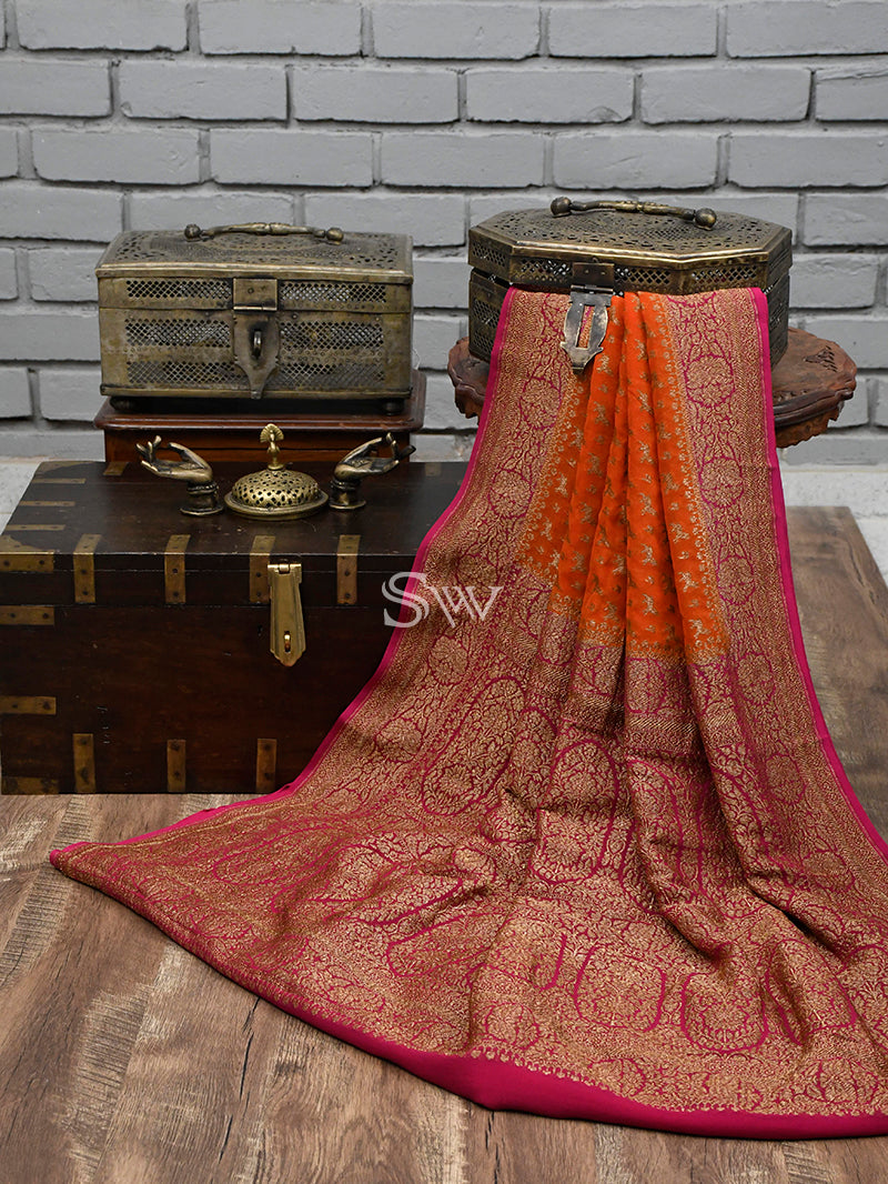 Orange Shikargah Khaddi Georgette Handloom Banarasi Saree - Sacred Weaves