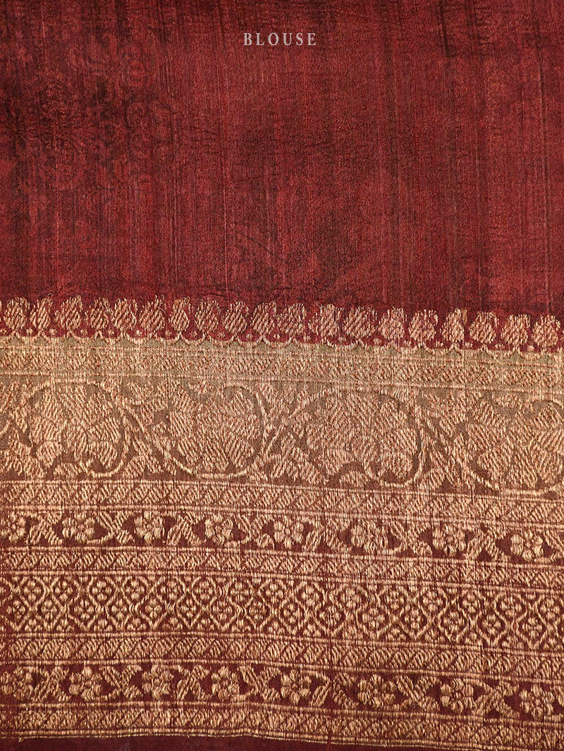 Brown Tussar Silk Printed Banarasi Saree - sacred Weaves