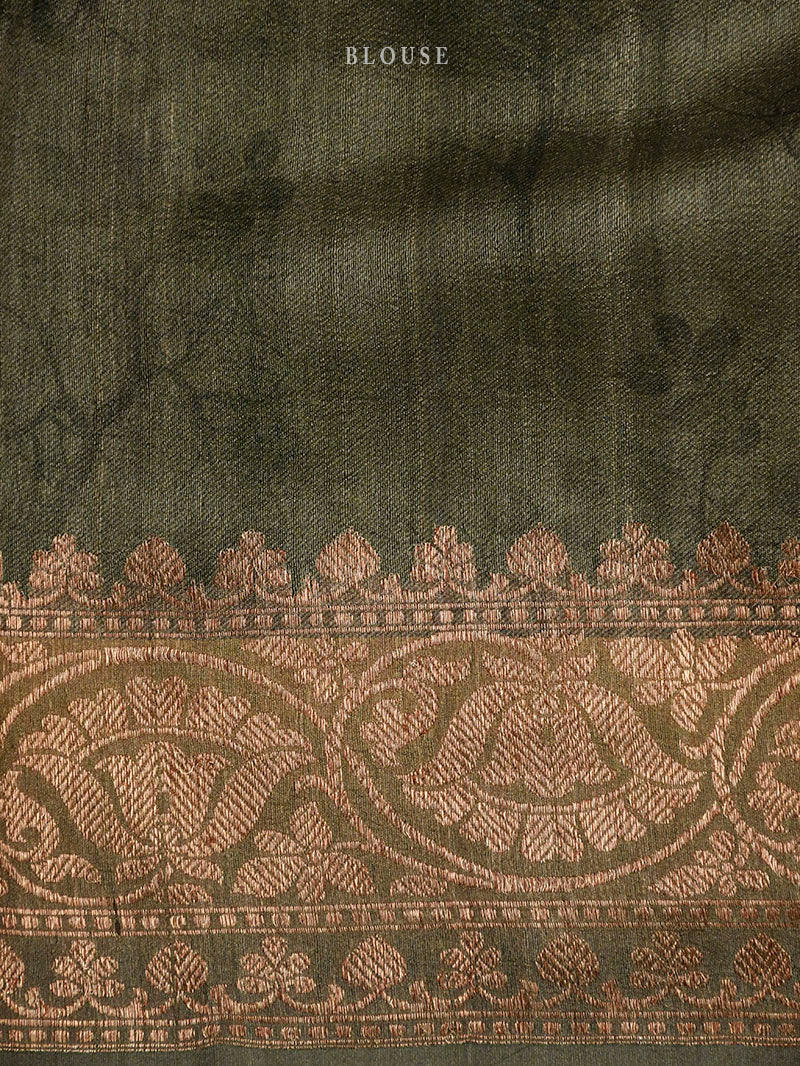 Moss Green Tussar Silk Printed Banarasi Saree - Sacred Weaves