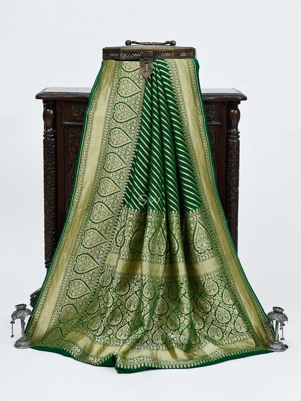 Bottle Green Khaddi Georgette Handloom Banarasi Saree - Sacred Weaves