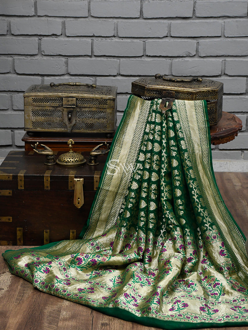 Bottle Green Paithani Khaddi Georgette Handloom Banarasi Saree - Sacred Weaves