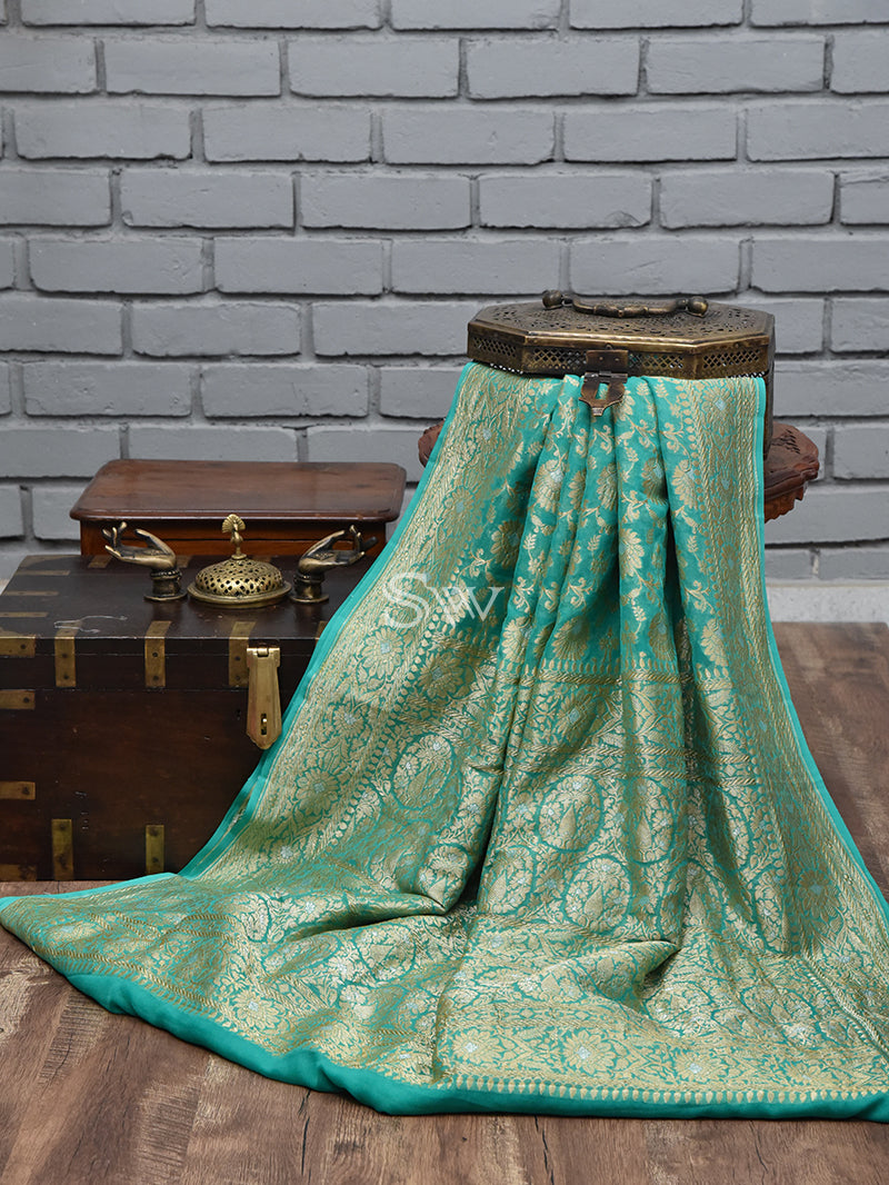 Sea Green Khaddi Georgette Banarasi Handloom Saree - Sacred Weaves