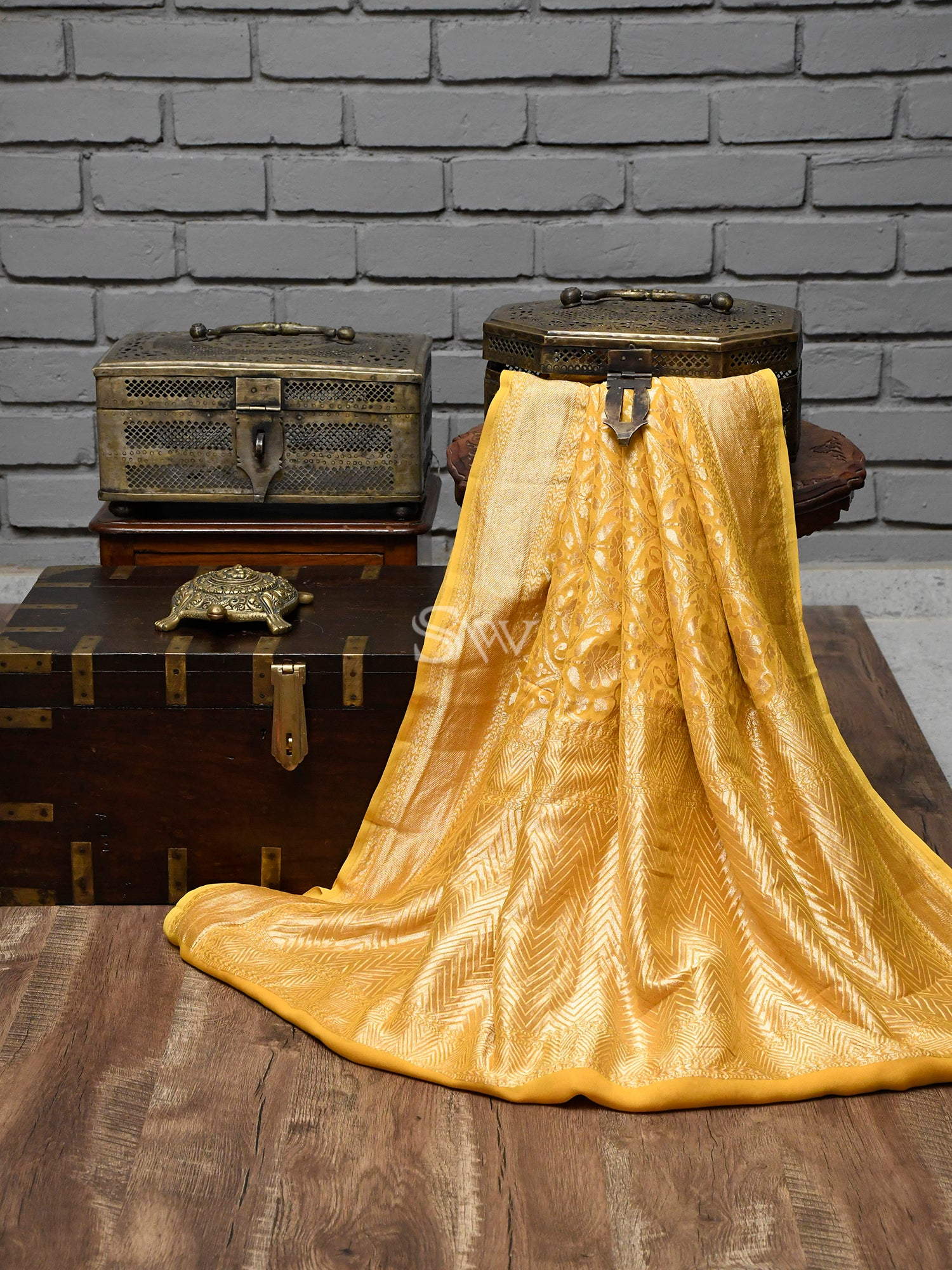 Yellow Jaal Khaddi Georgette Handloom Banarasi Saree - Sacred Weaves