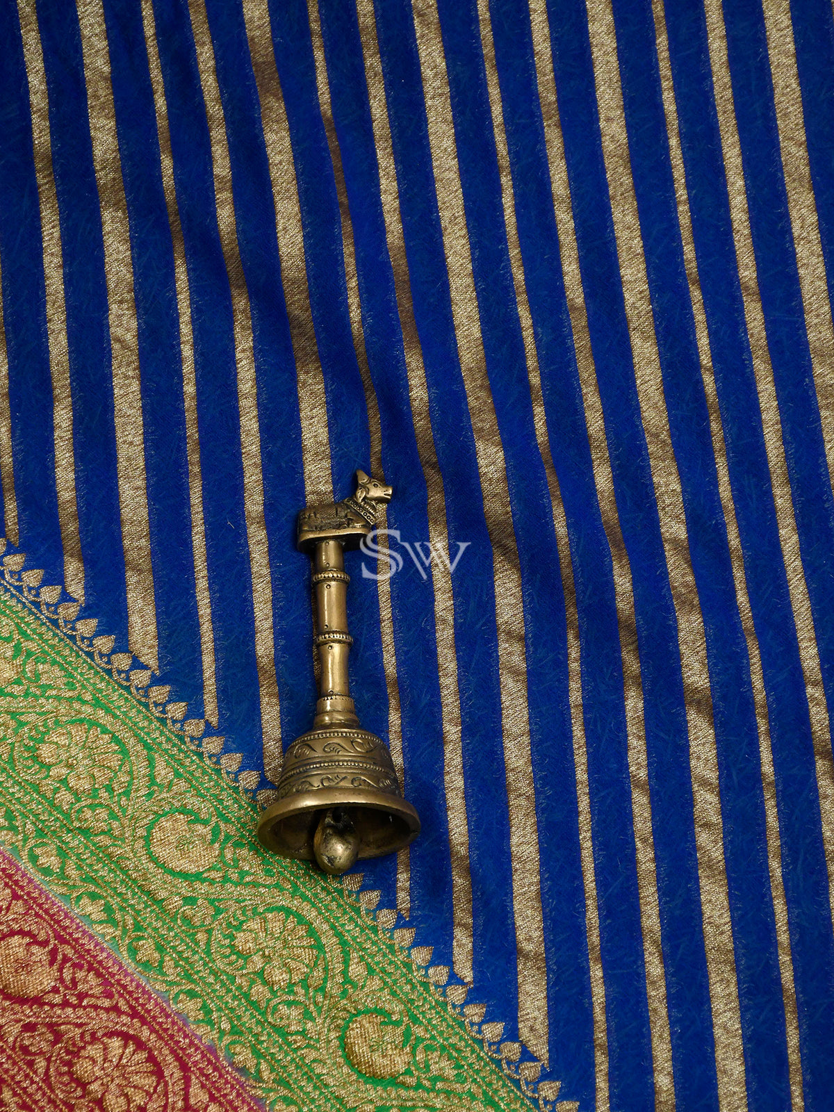 Royal Blue Stripe Khaddi Georgette Handloom Banarasi Saree - Sacred Weaves