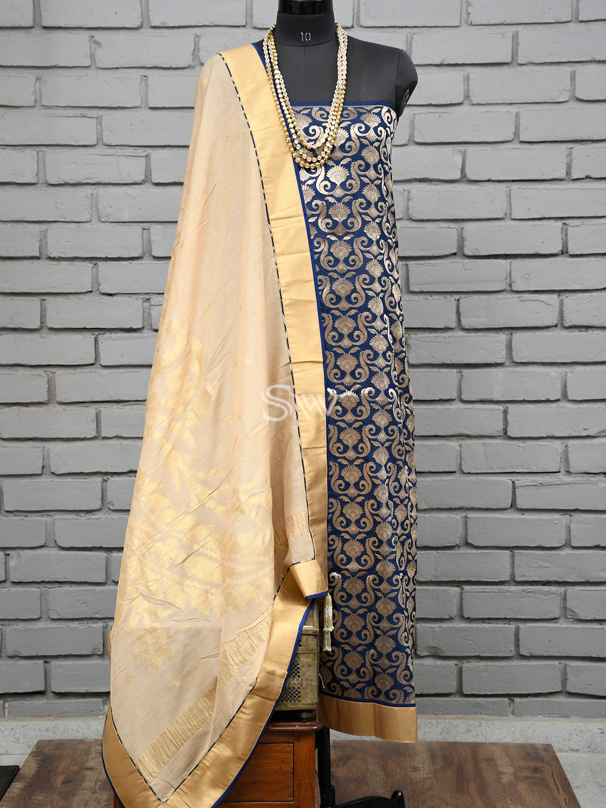 Navy Blue Katan Silk Handloom Banarasi Suit -Sacred Weaves