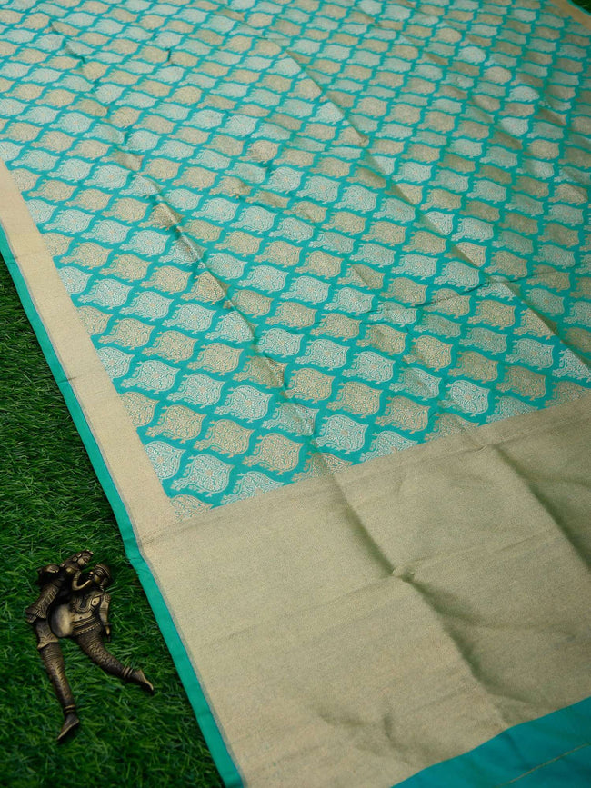 Sea Green Color Roopa Sona Zari Pure Katan Silk Banarasi Dupatta - Sacred Weaves